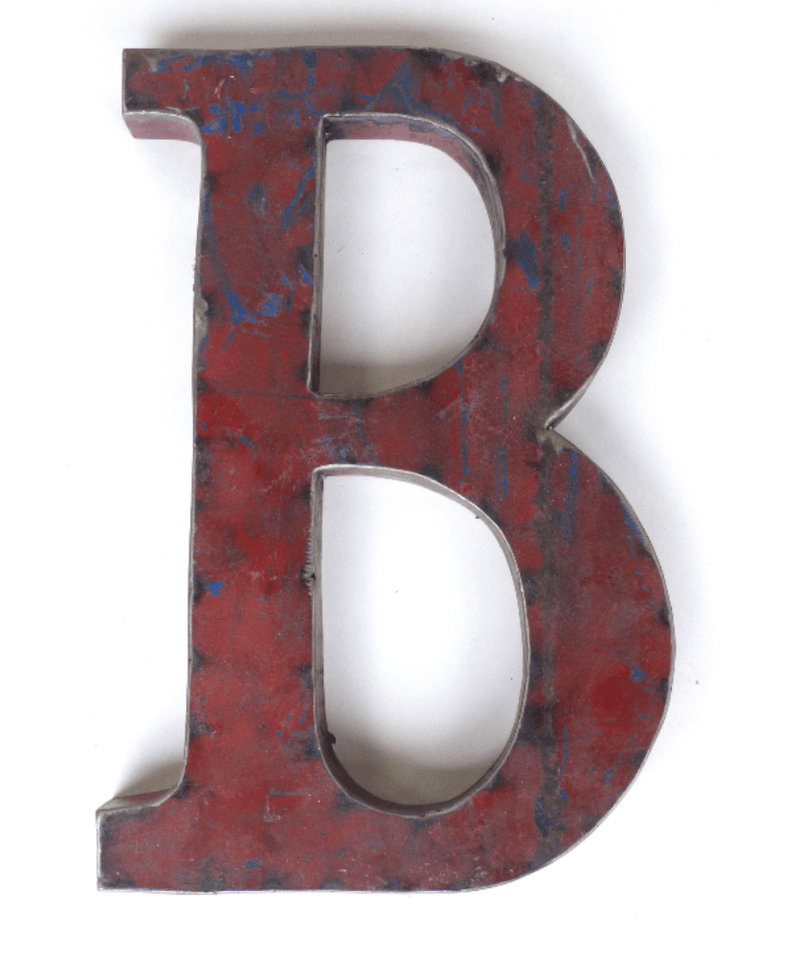 "Letter ""B"" Made From A Vintage Oil DrumVintage Frog W/BDecor"