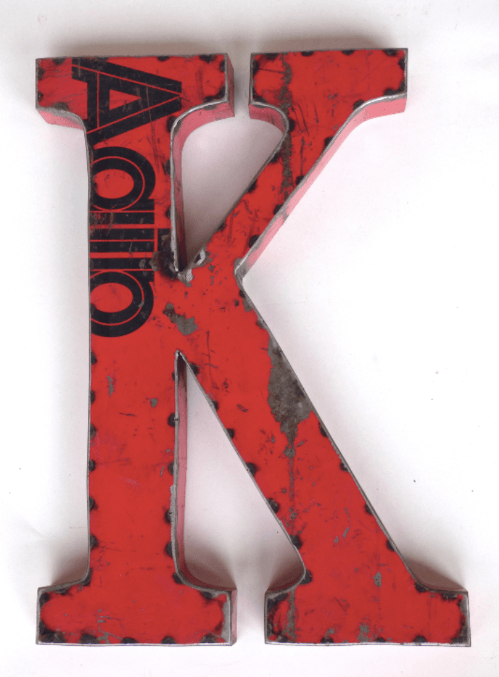 "Letter ""K"" Made From A Vintage Oil DrumVintage Frog W/BDecor"