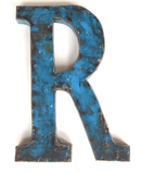 "Letter ""R"" Made From A Vintage Oil DrumVintage Frog W/BDecor"