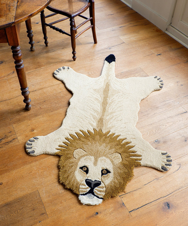 Lion Rug, Hand Made Animal Kingdom Sheep Wool Floor CoveringDoing GoodsRug