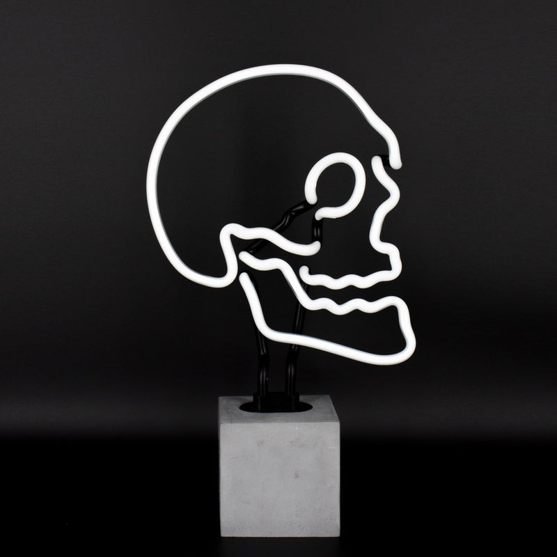 Neon Human Skull Sign On Concrete Base - Neon LightVintage FrogLighting
