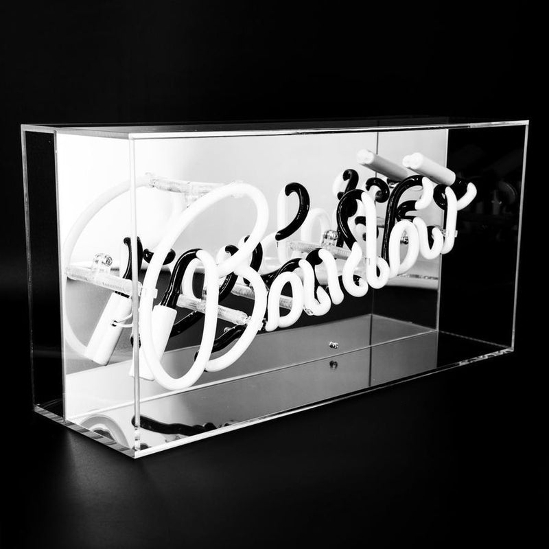 Neon Pink 'BOUDOIR' Sign Housed In Acrylic Box - Neon LightVintage FrogLighting