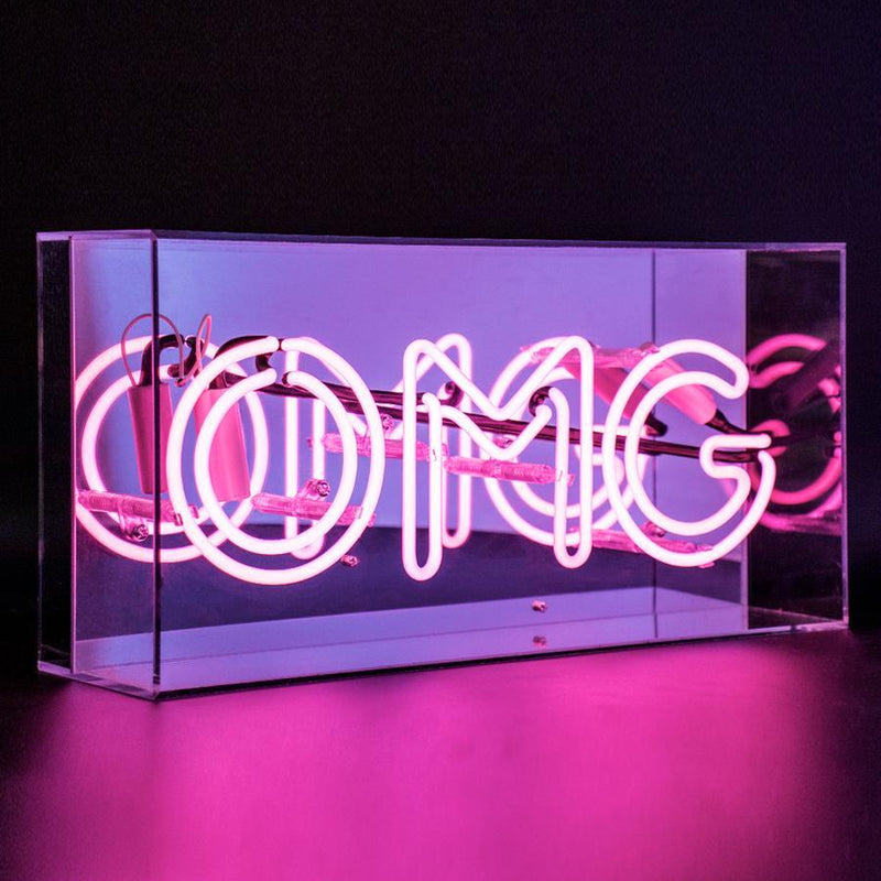 Neon Pink 'OMG' Sign Housed In Acrylic Box - Neon LightVintage FrogLighting