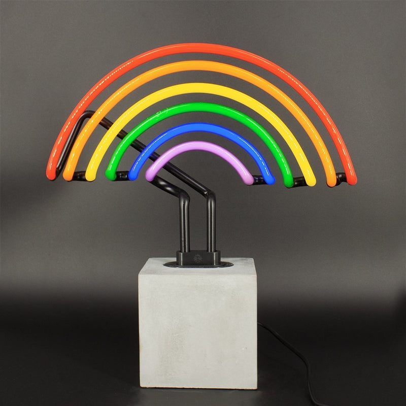 Neon Rainbow Sign On Concrete Base - Neon LightVintage FrogLighting