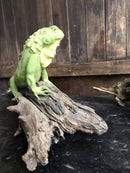 Pair of Vintage Ornamental Figures Of Iguanas Percher On Branches.Vintage FrogVintage Item