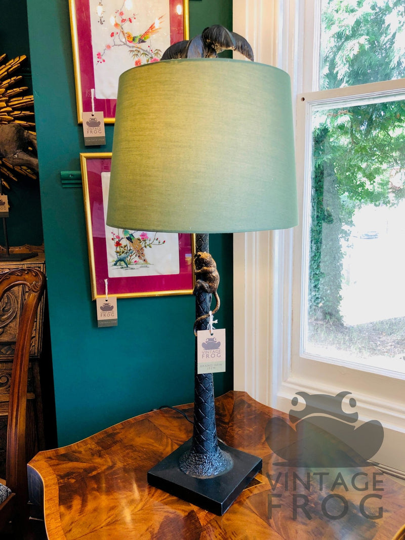 Palm Tree with Climbing Monkey Lamp with Green ShadeVintage FrogLighting