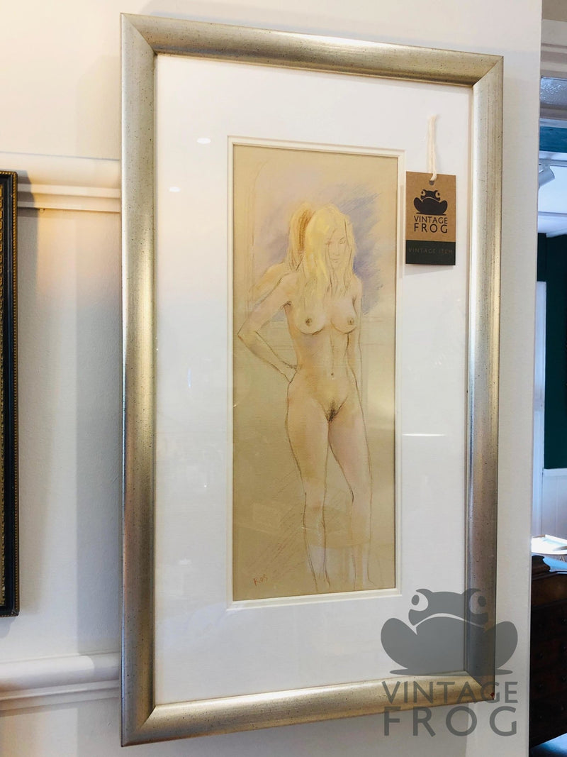 Pastel On Paper Picture Study of A Nude.Vintage FrogVintage Item