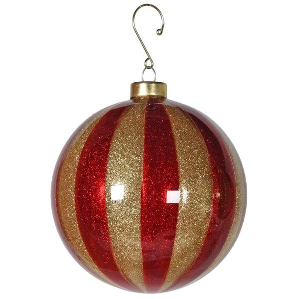 Red and Gold Stripe Christmas Tree Hanging BaubleVintage FrogChristmas Bauble