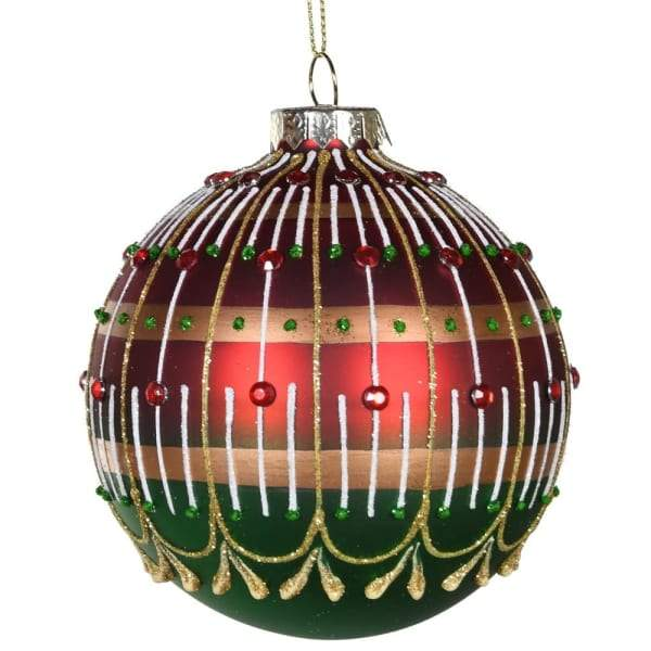 Red And Green Jewel Christmas Tree Hanging BaubleVintage FrogChristmas Bauble