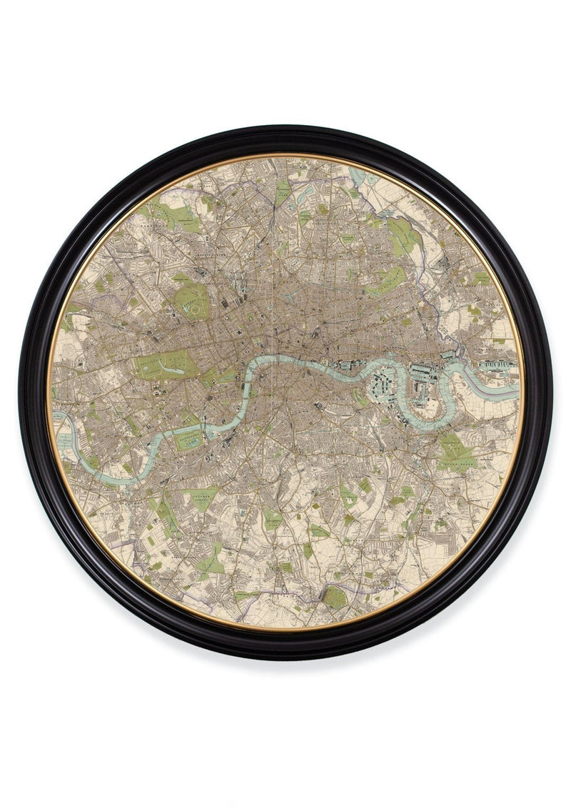 Round Framed Map of London Print - Referenced From an Original Early 1900s MapVintage FrogPictures & Prints
