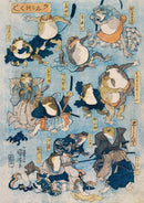 Samurai Frogs, Japanese Illustration Print On Canvas, Wall Hanging Decor PictureVintage FrogPictures & Prints
