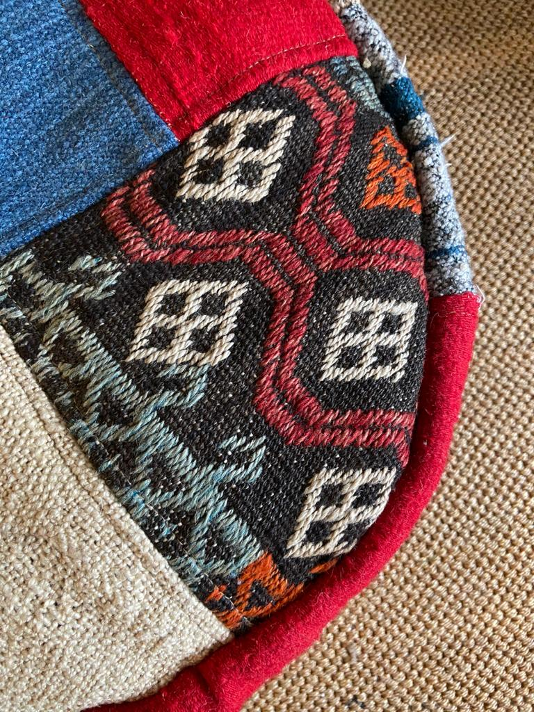 Vintage Footstool Poofe Made From Vintage Turkish Kilim RugsVintage FrogVintage Item
