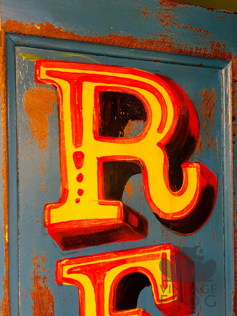"Vintage ""Retro"" Hand Painted Sign, Painted On A Reclaimed Door.Vintage FrogVintage Item"
