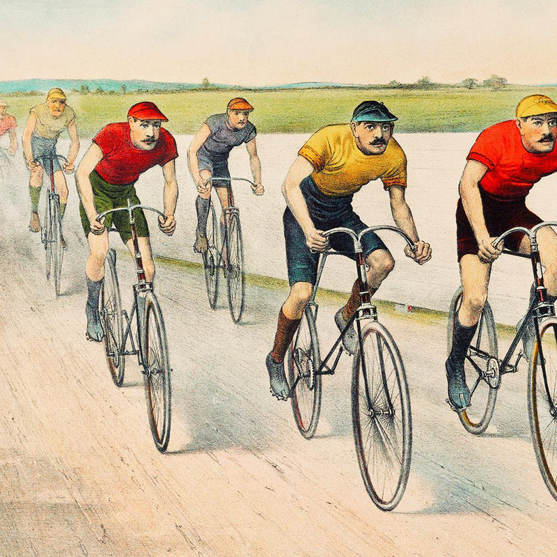 Wheelman Bikers Cycling Poster Illustration Print On Canvas, Wall Hanging Decor PictureVintage FrogPictures & Prints