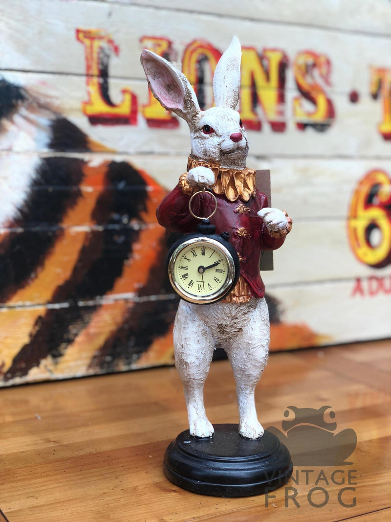 White Rabbit Standing Clock FigureVintage FrogBrand New