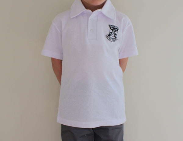 Short Sleeved Polo Shirts with Printed School Badge
