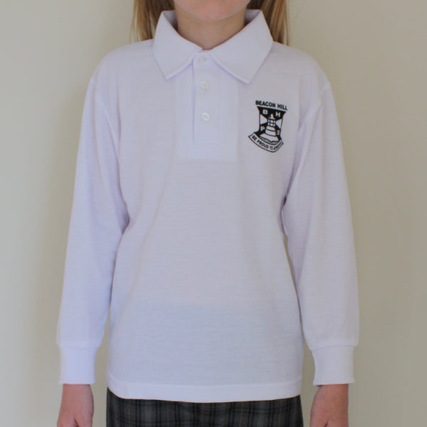 Long Sleeve Polo Shirts with Printed School Badge