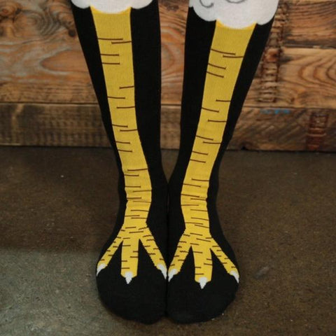 Bring out your inner chicken with these Chicken Legs Socks.  Whether purchasing for yourself, friend or lover, these socks will go down a treat.  Never before has it been easier to send a message to your lazy gym buddies with chicken legs.  Absolutely perfect for anyone; from animal lover, chicken leg devourer, or leg-day skipper, we're sure you will love these Chicken Legs.   One size fits all :)