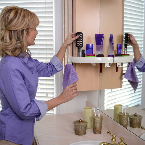 Exclusive Press-Tek technology holds up to 10 pounds with unique polymer pads. No suction cups uses pressure on the corner sides, make sure the corner side is solid and sturdy.  No tools needed to install! Forget drippy glues, holes in the wall and more. The corner shelf you need without the fuss.