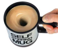 This product is specially designed to auto mixing coffee,milk,grain etc.What you need to do is press the button on the handle,it will stirring self mixing immediately.For both home and office use  The morning is tough enough! Why make life harder than it needs to be by having to stir your own coffee or tea?  With our self-stirring mug you don't need to stir any longer. Even better, it will keep your drink hot on the way into the office. Life changing!
