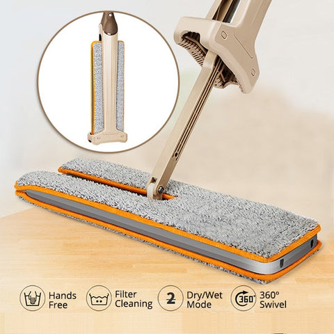 Make your cleaning life much easier with the double sided lazy mop with self-wringing ability.  This mop makes it super easy to clean by giving you both sides of the mop to use.  It also is super flexible and lets you get into those hard to reach places like the wall, under a desk, baseboards and more.  It also has a self wringing feature that lets you easily decontaminate the mop.  The microfiber mop head cloth is machine washable and makes it super easy to reuse.