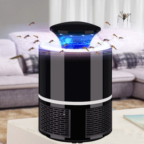 This lamp uses 10 LED UV purple lights with a wavelength of 360-400nm to attract mosquitoes easily. Once the mosquitoes are lured by the light and go near the lamp, they are sucked down by the powerful airflow of the fan onto the mesh basket at the bottom.