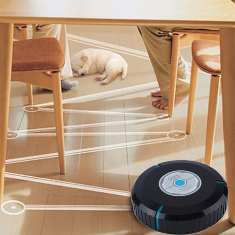 The robotic cleaner effectively picks up dirt, pet hair and dust from wooden floors, marble floors and nylon flooring  Capable of identify dangerous place such as desk, and turn direction automatically  Ideal for cleaning the floor, corners and crannies  Efficiently picking up hair, dust and dirt in all those annoying nooks and crannies under furniture  The cleaner robot runs automatically around home to adsorb the dust and dirt with the microfiber tissue