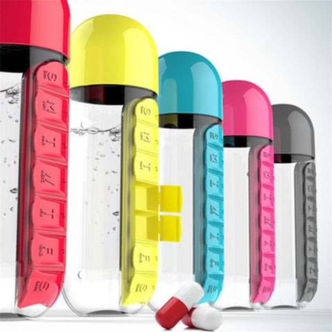 Never forget your vitamins or medicine with this nifty medicine organizer water bottle.  Your medicine slides right on, making you take your most important essentials with you every where.  The cap turns into a nifty drinking cup and it holds up to 600ml of water!