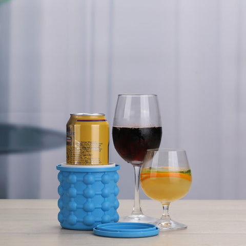 Save space in your freezer and eliminate the mess with a portable ice cube cup! Its simple design allows you to create up to 40 pieces of ice at a time. Releasing it from the cup is just as easy as pushing out the ice cubes from the sides. Also can be used as a cooler for all your bottles. Beat the heat with ice cooled beverages!