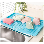 Dish Drying Racks Wall Mounted Drain Board for Home Kitchen Countertop Sink Draining Dish Mats  Kitchen countertop dish drain board with sloped design releases excess water into sink Plastic Sink Dish/Fruit/Vegetable Drainer Board Draining Rack.
