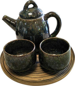 TRADITIONAL HAND MADE CERAMIC BLUE-BROWN 4 PIECES SET