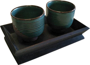 MODERN HAND MADE CERAMIC BLUE-BROWN 3 PIECES SET