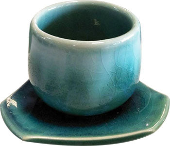 ELEGANT HAND MADE CERAMIC BLUE-GREEN COLORS 2 PIECES SET - CUP AND SAUCER