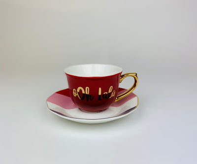Ooh La La French Teacup and Saucer