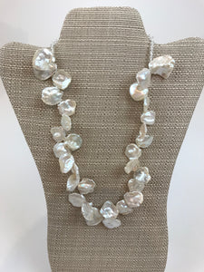 Keshi pearl and crystal necklace