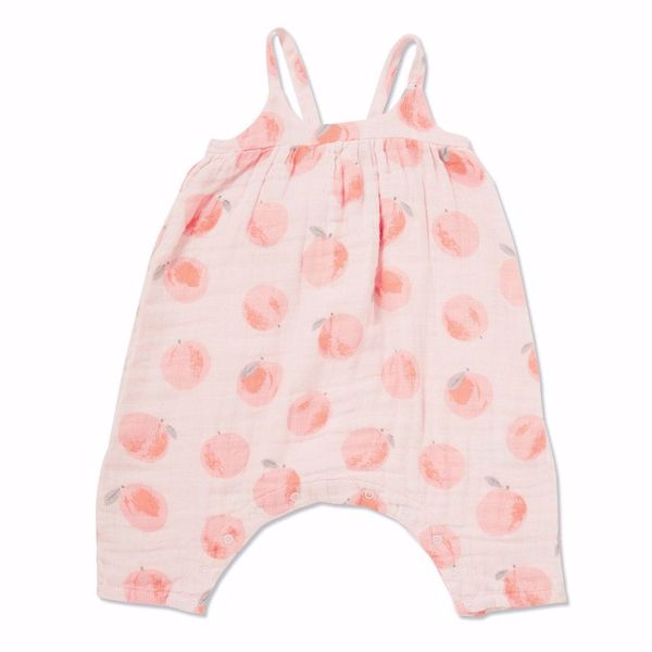 Angel Dear Peachy Muslin Romper with Bow Back