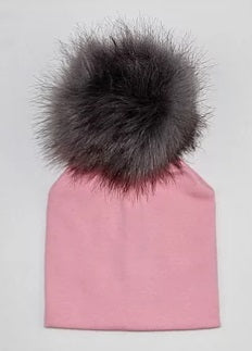 Elivia & Co Baby Beanie - Pink with Grey Pom Pom