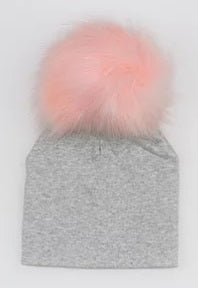 Elivia & Co Baby Beanie - Grey with Pink Pom Pom