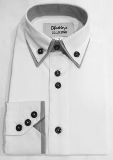 Ofna Boys Grey Double Collar White Dress Shirt