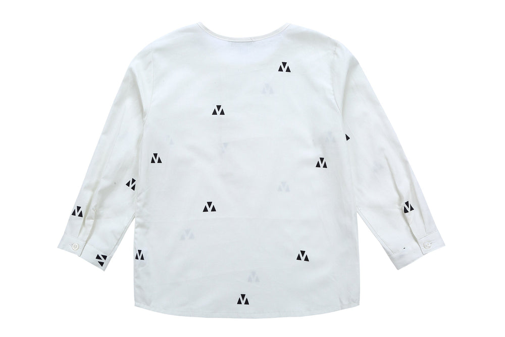 Petit Clair Boys Triangle Print Mandarin Shirt