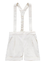 Petit Clair Baby Suspender Shorts - Ivory