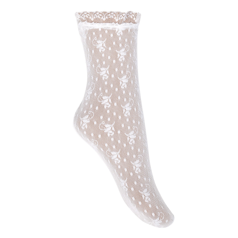 Condor Floral Lace Ankle Sock - White