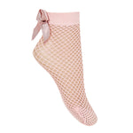 Condor Fishnet Ankle Sock with Bow - Pink
