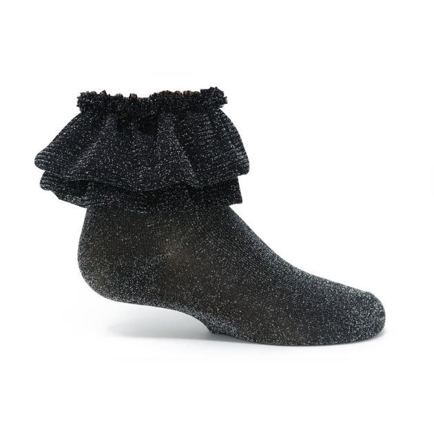Zubii Metallic Ruffle Ankle Sock - Black