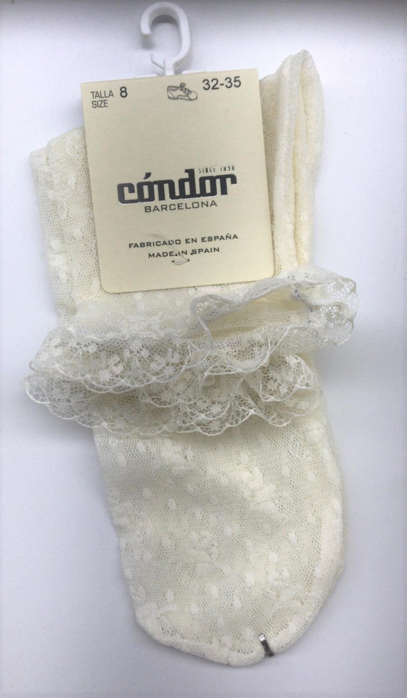 Condor Floral Lace Ankle Sock - Ivory