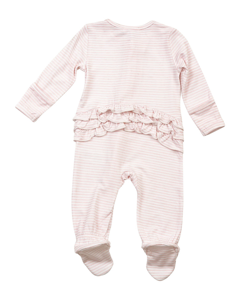 Angel Dear Pink Stripe Organic Bamboo Zipper Footie