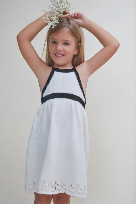 Nueces Ivory and Black Knitted Dress