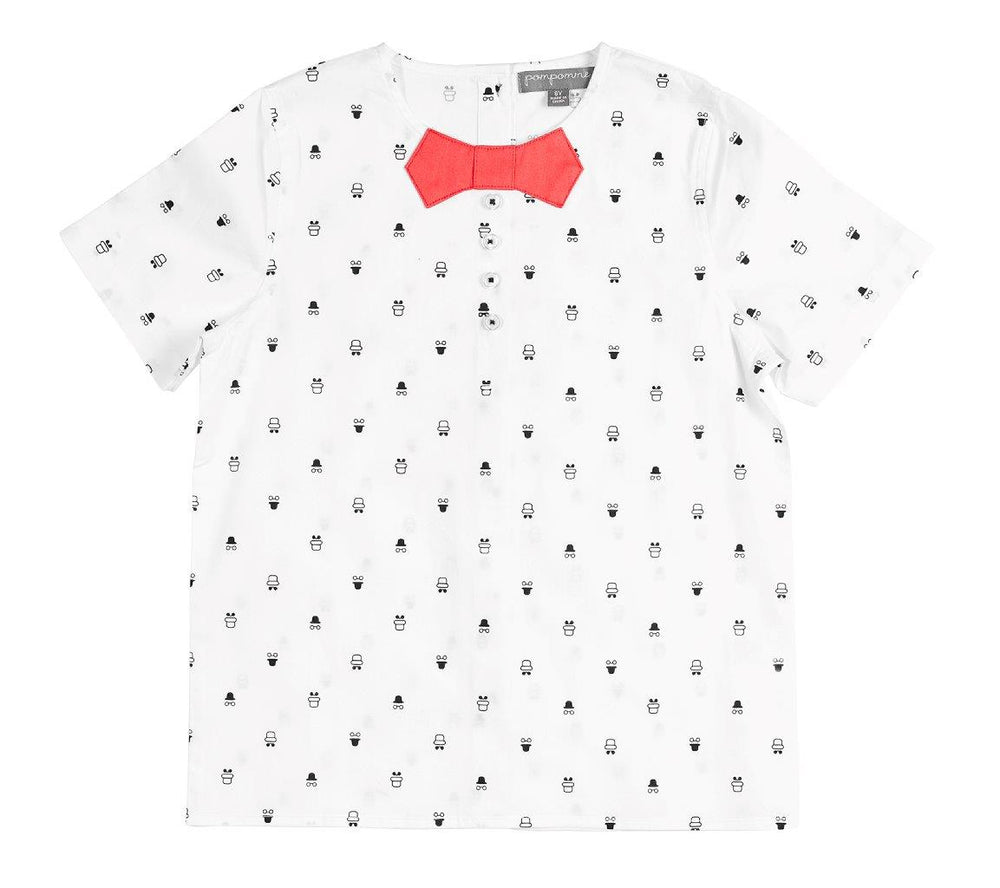 Pompomme Bow Tie Shirt - Navy/Coral