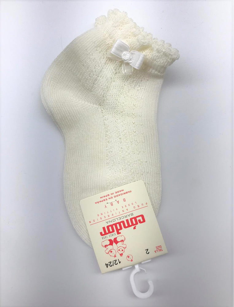 Condor Ankle Sock with Bow - Ivory