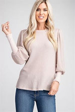Banded Sleeve Top - Taupe